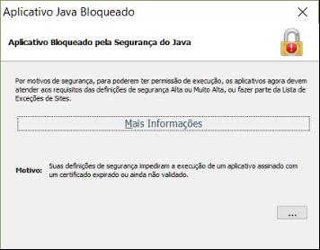 Aplicativo BLoqueado pela Segurança do Java